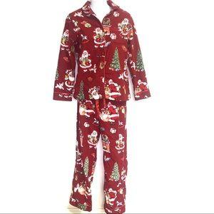 Nick & Nora Christmas Santa Red Flannel Set Sz XS